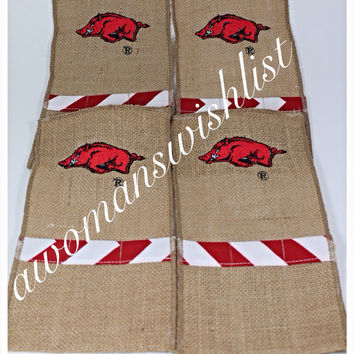 Razorback  Burlap Utensil Holder - Set of 4