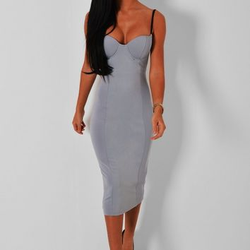 Aston Grey Bodycon Midi Dress | Pink Boutique