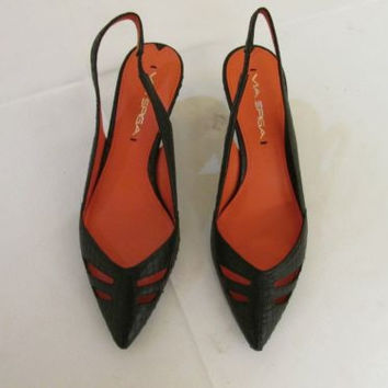 Via Spiga Raiden  Black Snakeskin Slingback Medium Heels, Women's 6 M