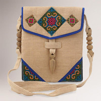 Novica Miracle Blue Hemp Shoulder Bag - World Market