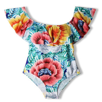 Floral Ruffle One-Piece
