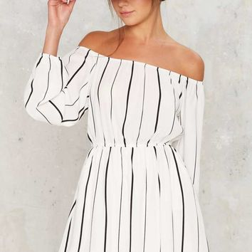Line of the Times Off-the-Shoulder Dress - White