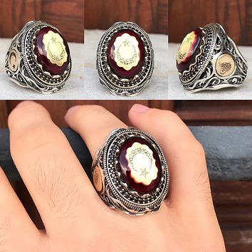 Mens 925 sterling silver ring with amber gemstone and crescent star calligraphy