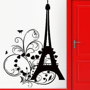Wall Sticker Eiffel Tower Paris Hearts Butterfly Romantic Decor Bedroom Unique Gift (z1347)
