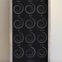 2014 MOON CALENDAR in Obsidian Black - Letterpress Edition