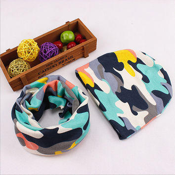 Pretty Kids Caps Scarf Sets Letter Camouflage Print  Knit Cotton Hats Scarves Ring Unisex Warm Winter Boys Girls Kid Accessories