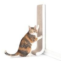 """4CLAWS Wall Mounted Scratching Post 26"""" (White) - BASICS Collection Cat Scratcher"""