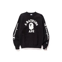 BAPE Unisex Fashion Casual Pattern Print Long Sleeve Top Sweater Sweatshirt