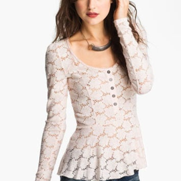 Free People Lace Peplum Henley | Nordstrom