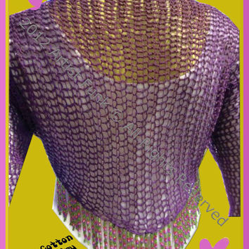 Summer Shrug - Lightweight Open Stitch Shrug Handcrafted 100% Cotton Deep Purple With Beaded Fringe