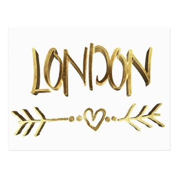 London UK Love Elegant Gold Look Typography Postcard