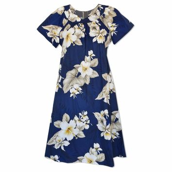 Hibiscus Joy Navy Cotton Hawaiian Muumuu Dress