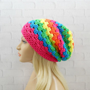 Neon Rainbow Slouchy Beanie, Womens Crochet Hat, Slouchy Winter Hat, Rainbow Crochet Beanie, Rainbow Crochet Hat, Granny Stitch Beanie