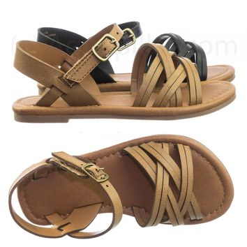 Midway2 Children Girl Flat Shoes Strappy Huarache Cage Summer Open Toe Sandal