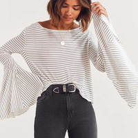 Kimchi Blue Vera Long Sleeve Striped Ruffle Top | Urban Outfitters