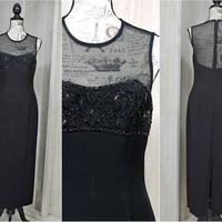 Black evening dress / size 6 / 7 / long formal cocktail dress / vintage 80s party dress /  Beaded Sheer / Sexy Classy