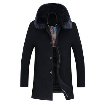 Winter Turn Down Collar Detachable Fur Collar Overcoat Men