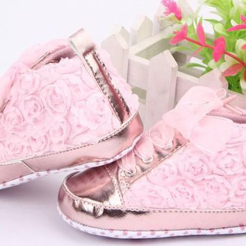 Baby Shoes Girls Toddler Soft Sole with Rose Flowers Children Shoes Infant Lace Shoes