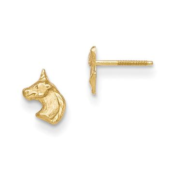 14kt Yellow Gold Detailed Unicorn Head Screwback Girls Stud Earrings