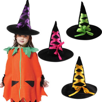 Fashion Halloween Masquerade Pointed Toe Witch Hat with Flannelette Ribbon Party Supplies Randomly Colors 4Pcs/lot