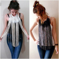 Long fringe necklaces, textille necklaces, fiber necklaces, long neck accessories
