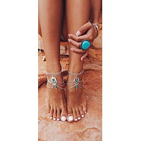 Boho Barefoot Sandals Silver And Turquoise Crescents Gypsy Ankle Bracelets 2 Piece Set Bohemian Festival Beach