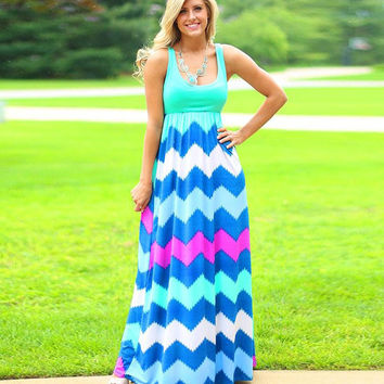 Green Square Neck Sleeveless Wave Print Maxi Dress