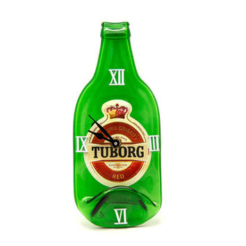 Touborg Beer melted Bottle Clock - Recycled green beer bottle wall clock - Gift for him- christmas gift