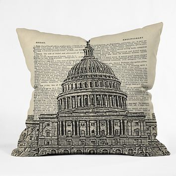 DarkIslandCity Capitol Building On Dictionary Paper Throw Pillow