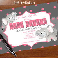 Cute Elephant baby shower invitation, Pink and gray, Pink and grey, printable, shower, social media, facebook Elephant,zebra,giraffe
