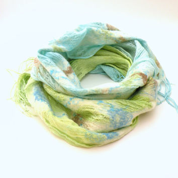 Felted scarf shawl nuno felting - merino wool an linen scarf - pastel mint green and sea blue - spring fashion - scarf