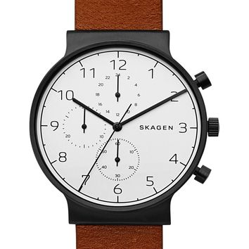 Skagen | Ancher Chronograph Leather Strap Watch, 40mm | Nordstrom Rack