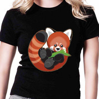 Cute Red Panda TV Womens T Shirts Black And White