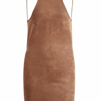 Backless Suede Bandage Mini Dress