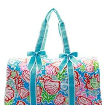 Coral Reef Print Quilted Duffel Bag - 3 Color Choices