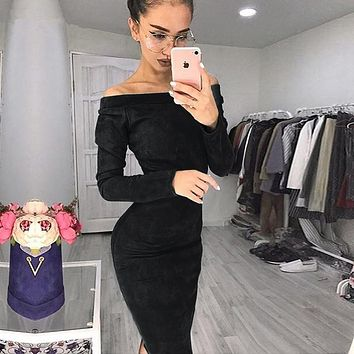 Solid Suede Long Sleeve Off Shoulder Women Mid-calf Dress 2018 Autumn Winter Female Sexy Bodycon New Year Party Dresses