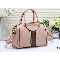 Gucci Boston bag Fashionable Women's Printed Stripe Shopping Bags with One Shoulder Bag Pink