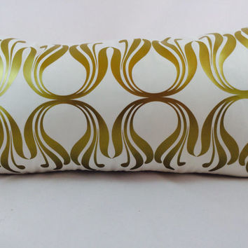 Metallic gold 1920's Art Deco Tulips pattern lumbar pillow on ivory cotton blend fabric.