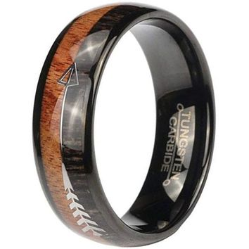 CERTIFIED 8mm Mens Wood Inlay Tungsten Carbide Wedding Ring