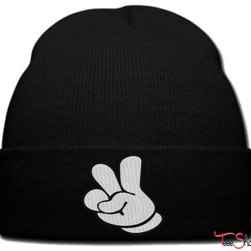 two finger up beanie knit hat