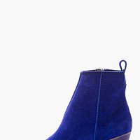 INDIGO BLUE CUBAN-HEEL SUEDE ANKLE BOOT