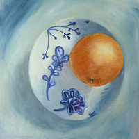 Original Oil Painting, Orange + Blue + White China, Canvas Painting, Signed by the Artist, Ready to Hang, No Frame Needed, Kitchen Art, Food