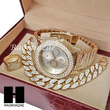 TECHNO KING ICED SET RAPPER 14K GOLD WATCH CUBAN BRACELET RING SET L015