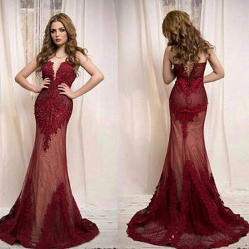 Saudi Arabic Design lace appliques prom dresses formal gown vestido de festavil 2016 Red mermaid evening dresses 2468