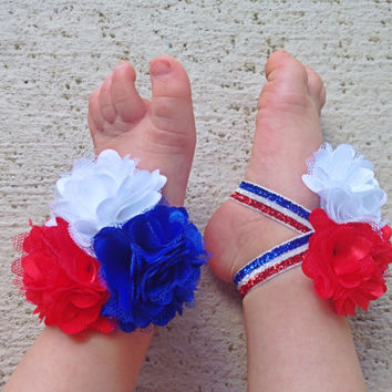 Baby Barefoot Sandals Red White and Blue Patriotic 4th of July Piggy Petals Baby Accessories Toe Blooms - Photo Props - Baby Shoes