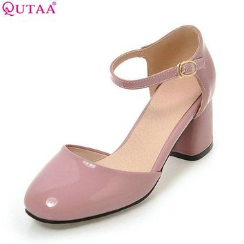 QUTAA 2017 Women Pumps Square High Heel Platform PU Patent Leather Princess Style Ankle Strap Ladies Wedding Shoes Size 34-43