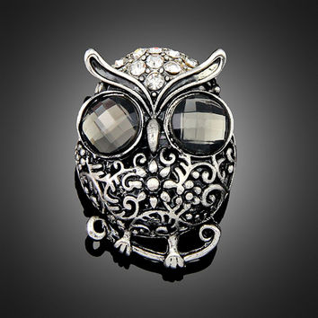 Vintage Owl  Silver  Plated Rhinestone Brooches for Women Brooch Pins Jewelry
