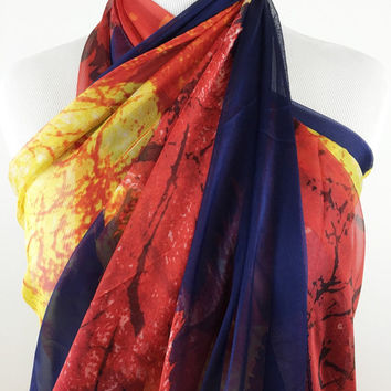 100% Silk Scarf, Handpainted Silk Scarf, Spring Scarf, Vibrant Orange Red and Blue Silk Scarf, Spring Silk Wrap, Multi Purpose Silk Scarf