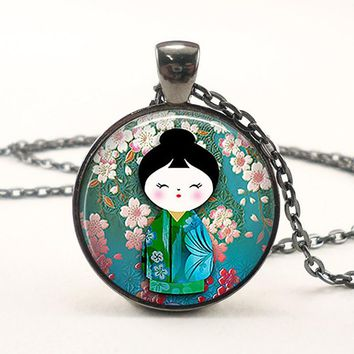 Vintage Cute Japanese Plum Blossom Kokeshi Doll Charm Pendant Round Cabochon Necklace Fashion Jewelry Gift for Women Girls Kids