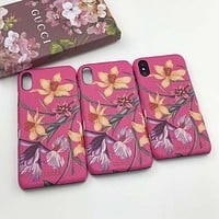 GUCCI Flower Fashion iPhone Phone Cover Case For iphone 6 6s 6plus 6s-plus 7 7plus 8 8plus iPhone X XR XS XS MAX